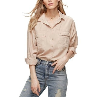 Free People Womens Casual Top Metalllic Button Down Front