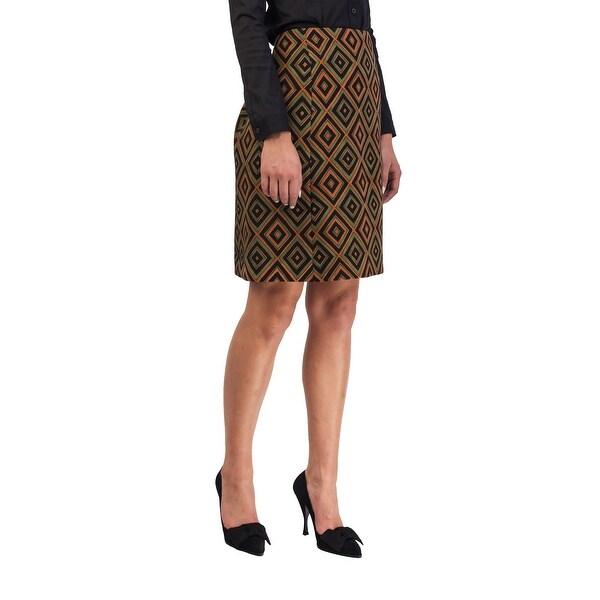 b3c54534a30f1 Shop Prada Women's Virgin Wool Geometric Print Skirt Green - Free ...