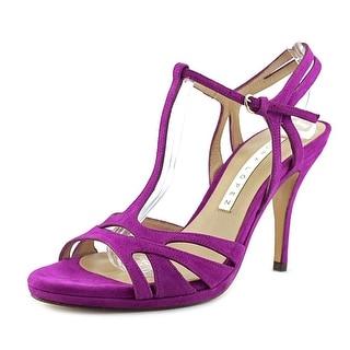 Pura Lopez S405 Open-Toe Suede Heels