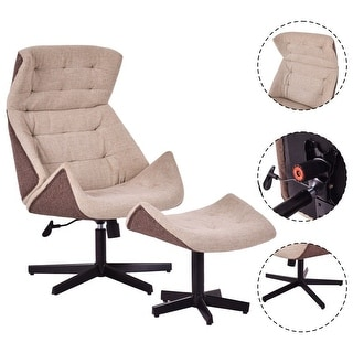 Costway Executive Chair Lounge Leisure Chair Adjustable Height Swivel w/Ottoman