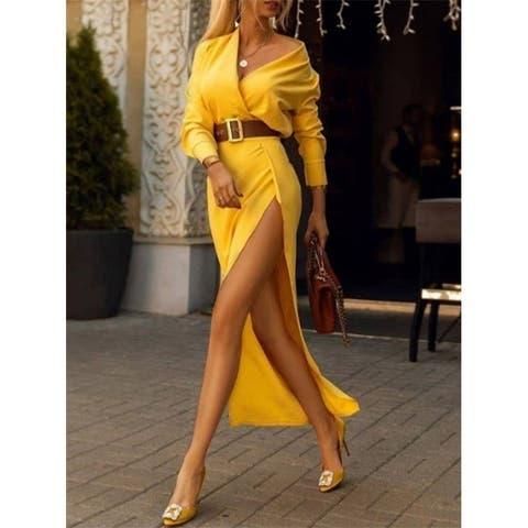 Split-Side Empire Long Sleeves Maxi Dresses