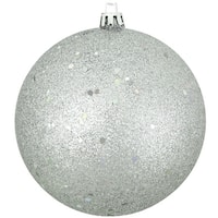 "Silver Splendor Holographic Glitter Shatterproof Christmas Ball Ornament 4"" (100mm) - BLue"
