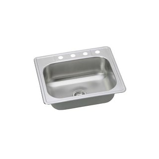 """Proflo PFSR252264 25"""" Single Basin Drop In Stainless Steel Kitchen Sink with 4 F"""