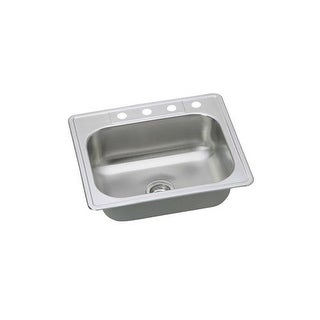 """Proflo PFSR252274 25"""" Single Basin Drop In Stainless Steel Kitchen Sink with 4 F"""