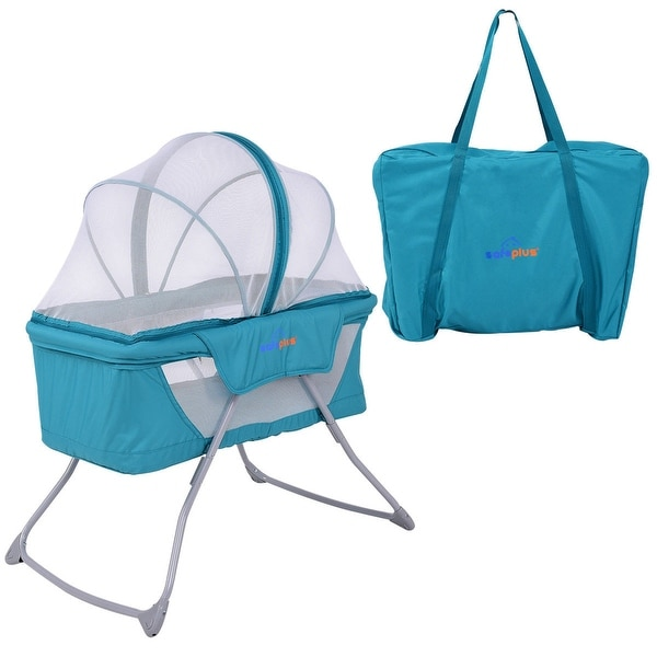 SafePlus Lightweight Foldable Baby Bassinet Rocking Bed Mosquito Net Carrying Bag Travel