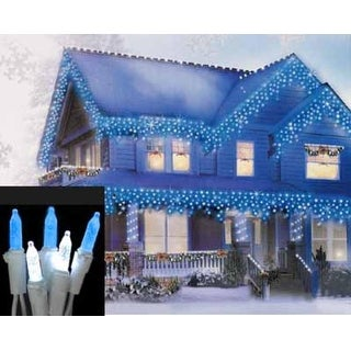 Set of 70 Blue and Pure White LED M5 Icicle Christmas Lights - White Wire