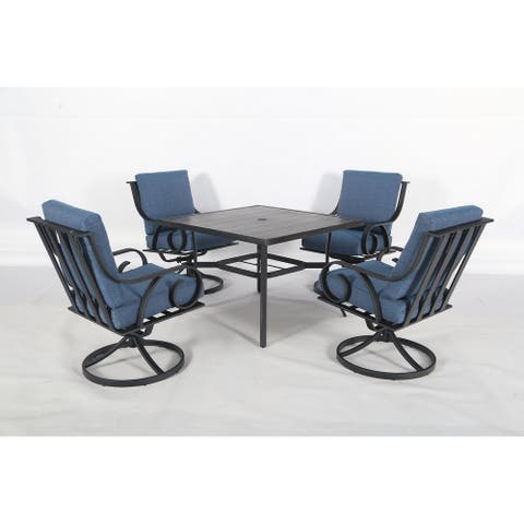 Capri 5pc Steel Dining Set with Fully Cushioned Swivel Rocking Chairs