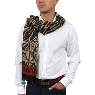 Roberto Cavalli ESZ057 00508 Taupe Wool Blend Tiger Print Mens Scarf -  40-180 dac283a586