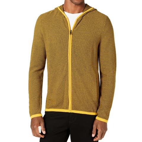 Alfani Mens Sweater Yellow Size Small S Hooded Zip Front Textured Knit