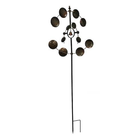 Metallic Brown Metal Art Dual Spinning Wind Catcher Garden Stake - 74 X 26.5 X 26.5 inches