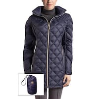 Michael Kors Navy Diamond Quilted Down Packable Hooded Coat