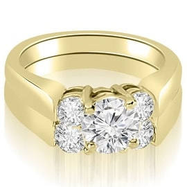 1.50 cttw. 14K Yellow Gold Round Cut Diamond Engagement Bridal Set