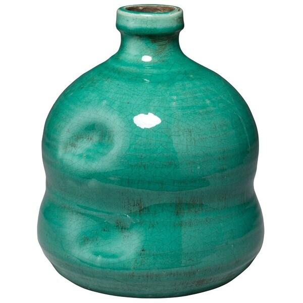 """10.25"""" Mint Green Decorative Dimple Jug Vase - N/A"""