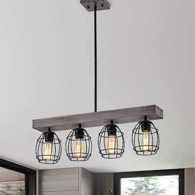 Wood and Black 4-Light Cage Linear Kitchen Island Lighting