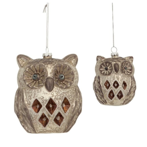"Pack of 4 Antique-Style Silver Glass Owl Ornaments 4""-6"""