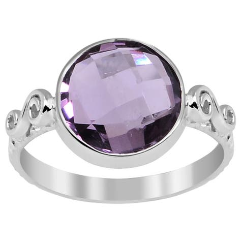 Amethyst Sterling Silver Round Anniversary Ring By Orchid Jewelry