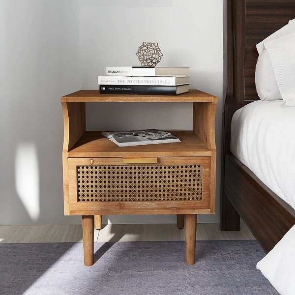 COZAYH Rustic Farmhouse Woven Fronts Nightstand, Spacious Storage End Table With 1 Drawers. Opens flyout.