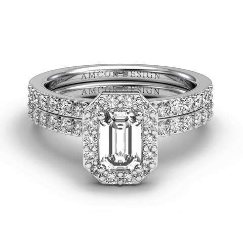 14KT Gold 1.75 CT Halo Emerald Diamond Engagement Ring Bridal Set Wedding Band Amcor Design