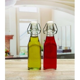 Palais Glassware Oil and Vinegar Clear Glass Dispenser Cruet Bottle, with Cork Lid - Set of 2 (Bail and Trigger 8.5 Oz.)