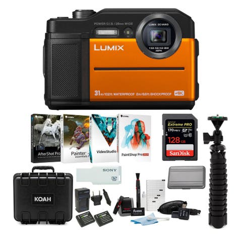 Panasonic LUMIX TS7 Waterproof Tough Digital Camera (Orange) Bundle