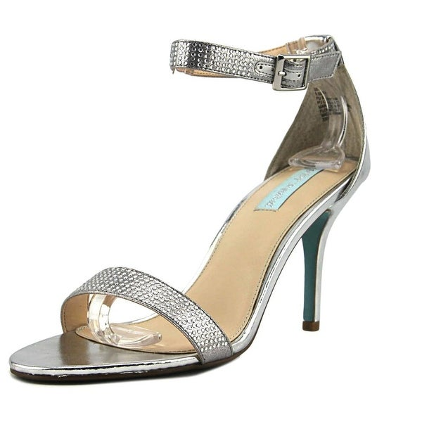 Betsey Johnson Shilo Women Open Toe Canvas Silver Sandals