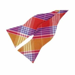 Tommy Hilfiger Men's Big Twill Plaid Bow Tie (OS, Red Orange) - os
