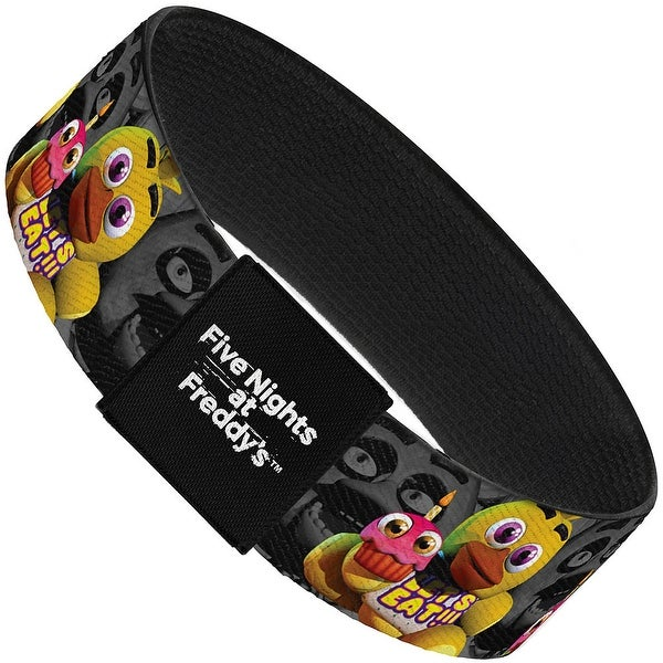 "Chica Plushie Face Grays Elastic Bracelet   1.0"" Wide"