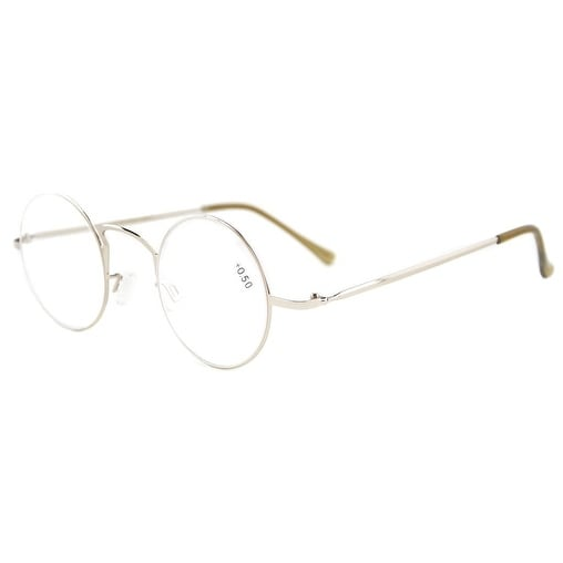 Eyekepper Readers Lightweight Round Metal Circle Reading Glasses Silver +3.0 - +3.00