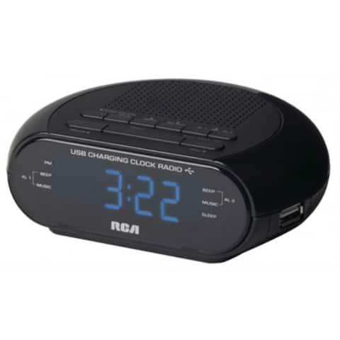 RCA RC207 Dual USB Portable Clock Radio, Black
