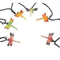 Set of 10 Multi-Color Dragonfly Summer Patio Novelty Christmas Lights Green Wire - multi