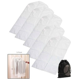 """JAVOedge 5 Pack 24"""" x 39"""" White Hanging Closet Suit / Clothing Storage Bags with Zipper"""