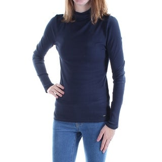 Womens Navy Long Sleeve Turtle Neck Casual Top Size M