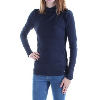 Womens Navy Long Sleeve Turtle Neck Casual Top Size XL