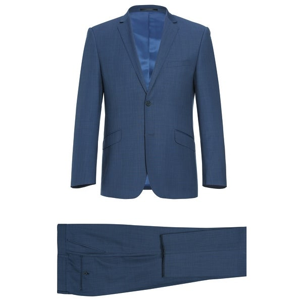 Mens 2 Pieces Suit Solid Slim Fit Single Breasted Wool Suit