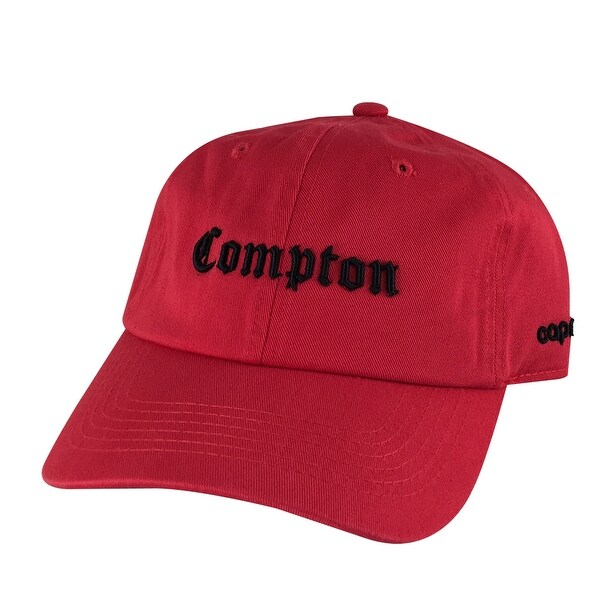 4d9d5dd093150 Shop Retro NWA 3D Compton Old English Unstructured Dad Cap - Red Black -  Free Shipping On Orders Over  45 - Overstock - 17840029