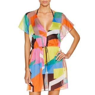 Milly Womens Cotton Printed Dress Swim Cover-Up