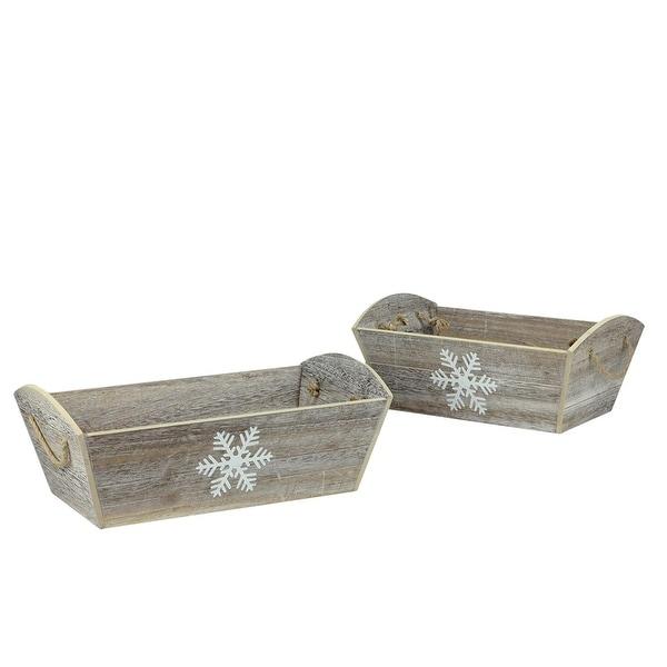 Set of 2 Winter Light Decorative Snowflake Design Whitewashed Christmas Planters - brown