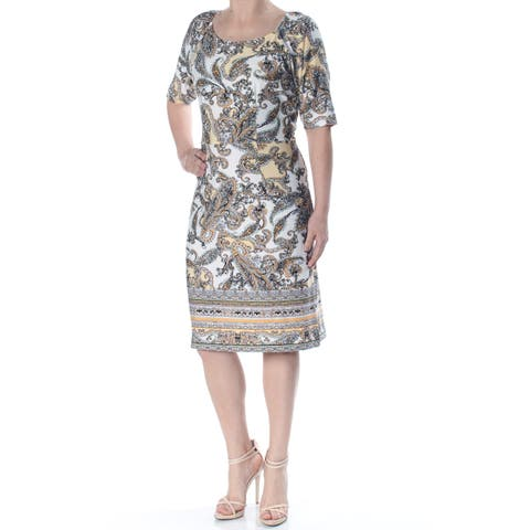 dffe3ea045d9 NY COLLECTION Womens Ivory Paisley 3/4 Sleeve Square Neck Knee Length Sheath  Wear To