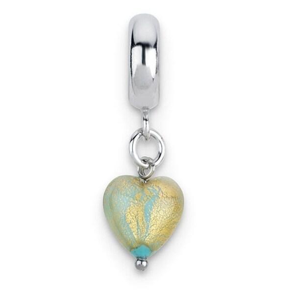 Italian Sterling Silver Reflections Sea Foam Heart Murano Dangle Bead (4mm Diameter Hole)