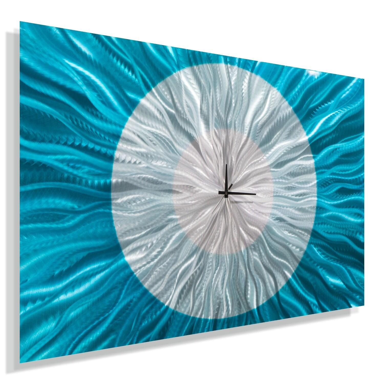 Statements2000 Aqua Blue / Silver 36-inch Metal Wall Clock - Catwalk Aqua - Thumbnail 0