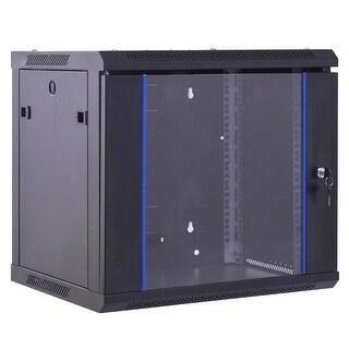 Costway 6U Wallmount Data Cabinet Enclosure 19'' Server Network Rack w Locking Glass Door - Black