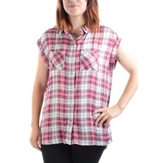 Womens Black, Red Plaid Cuffed Collared Casual Button Up Top Size S