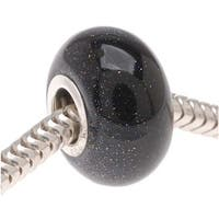 Gemstone Blue Goldstone and Sterling Silver Short Round Bead - European Style Large Hole - 14mm
