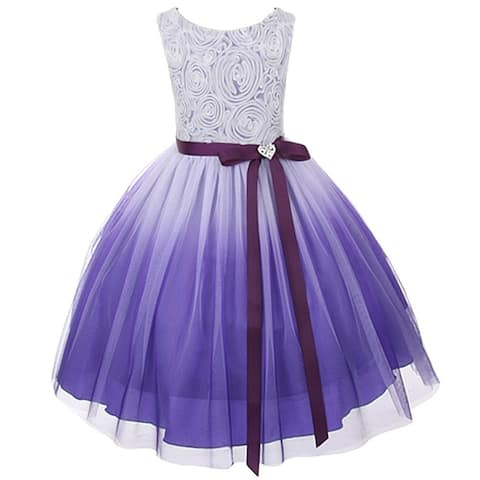 Kids Dream Little Girls Purple Ombre Rosette Special Occasion Dress 6-14