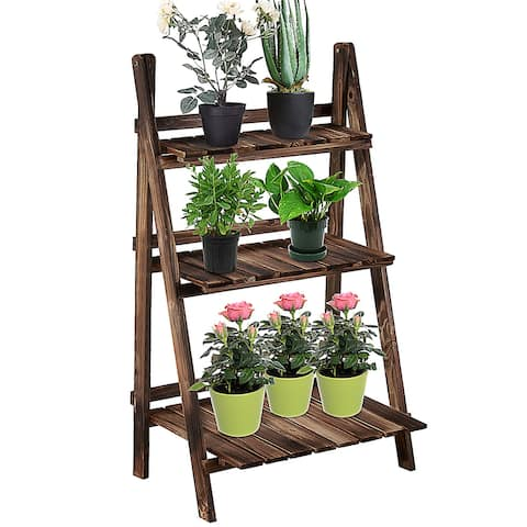 """Outsunny 24"""" Wooden 3-Tier Ladder Plant Stand - 8' x 10'"""