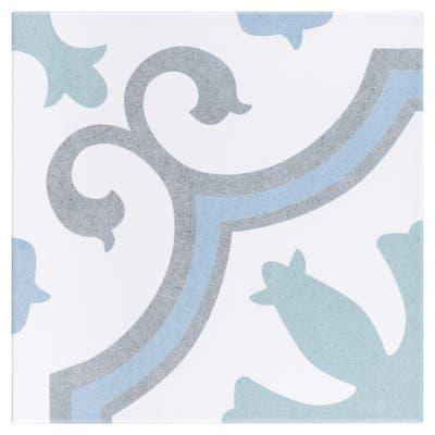 """SomerTile Lacour Aqua Encaustic 9.75"""" x 9.75"""" Porcelain Floor and Wall Tile"""
