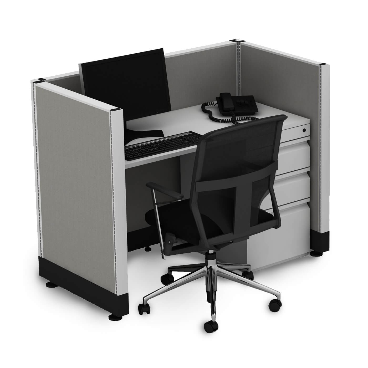Small Cubicles 39H Powered (2x3 - Walnut Desk Silver Paint - Assembled)