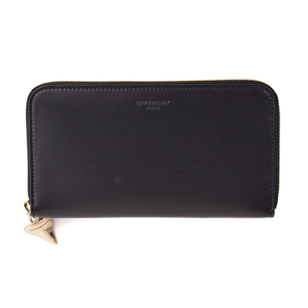 Givenchy Black Shark Tooth Charm Continental Leather Wallet