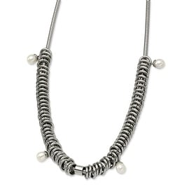 Chisel Stainless Steel Multi Rings with Fresh Water Pearls Necklace (10 mm) - 18.25 in