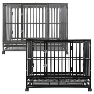 Heavy Duty Steel Dog Crate - Two-Door with Tray by SmithBuilt